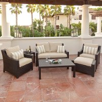 OP-PEOSS6-SLT-K Tan 6 Piece Wicker Outdoor Patio Furniture Set