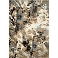5 x 8 Medium Floral Cream and Blue Rug - Casa