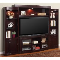 Merlot Brown 4 Piece Transitional Entertainment Center - Biscayne