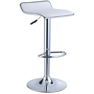 White Chrome Adjustable Barstool Set Of 2 Rc Willey Furniture Store
