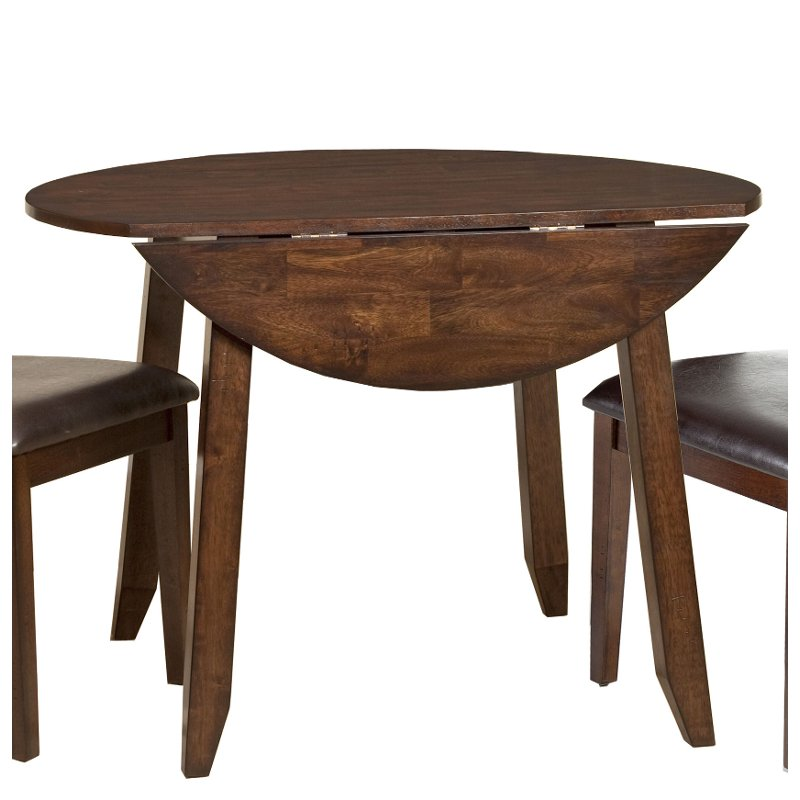 Raisin 42 Inch Drop Leaf Round Dining Table - Kona