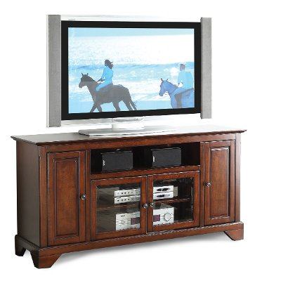 60 inch cherry brown tv stand river city