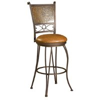 Bronze and Copper 24 Inch Swivel Counter Height Stool - Indigo