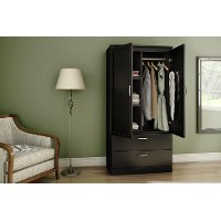 5370038 Pure Black Wardrobe Armoire - Acapella