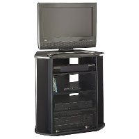 Sleek Black Tall 30 Inch Corner TV Stand - Visions
