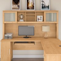 Maple Cross L-Desk 72W Hutch - Somerset