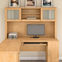 Maple Cross L Shaped Desk Hutch (60 Inch) - Somerset