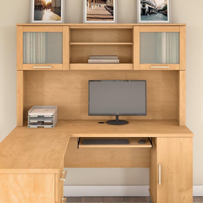 Maple Cross L Shaped Desk Hutch 60 Inch Somerset