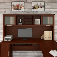 Hansen Cherry 72W Hutch L Shaped Desk - Somerset