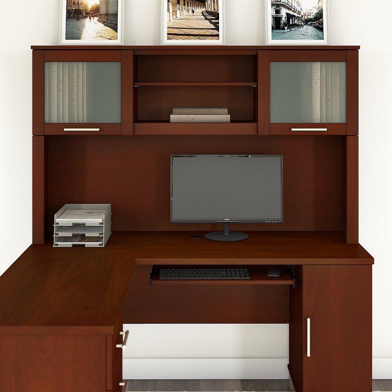 Hansen Cherry L Shaped Desk Hutch 60 Inch Somerset