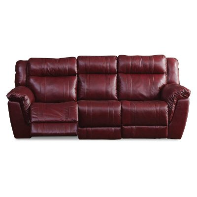 Red Leather-Match Dual Manual Reclining Sofa - K-Motion