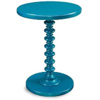 Teal Pedestal Spindle Accent Table