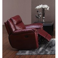 Red Leather-Match Manual Swivel Glider Recliner - K-Motion