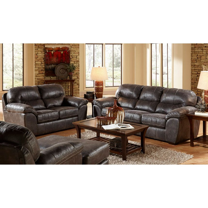 ... Casual Contemporary Steel Gray 2 Piece Living Room Set   Grant ...