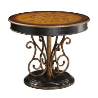 Black and Brown Round Inlay Top Accent Table