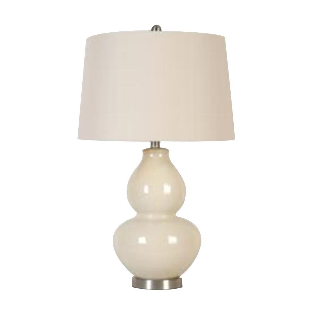 Glossy Beige Table Lamp