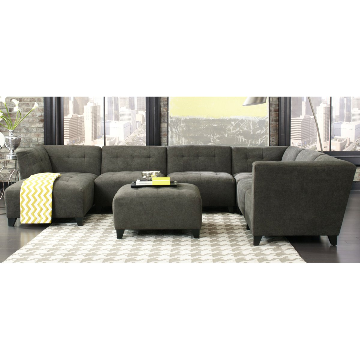 ... Classic Modern Granite Gray 6 Piece Sectional Sofa   Blaire