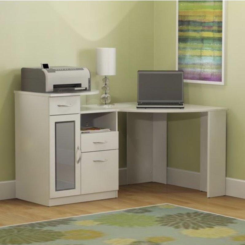 Pure White Corner Home Office Computer Desk - Vantage