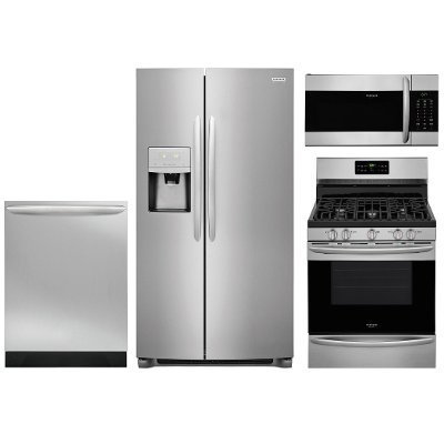 S S 4pc Gallery Gas Frigidaire Gallery Stainless Steel 4 Piece Frigidaire Gallery Stainless Steel 4 Piece Gas Kitchen Appliance Package