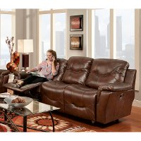 Milano 95 Chestnut Leather Match Reclining Sofa RC Willey Furniture S