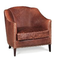 Saddle Brown Leather Chair - Madison