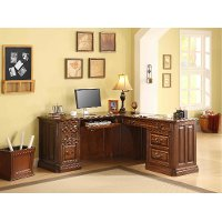 L Shaped Wooden Brown Corner Desk - Breckenridge