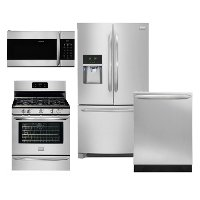 SS-4PC-3DR-GAS-PKG Frigidaire Gallery 4 Piece Kitchen Appliance Package with Gas Range - Stainless Steel