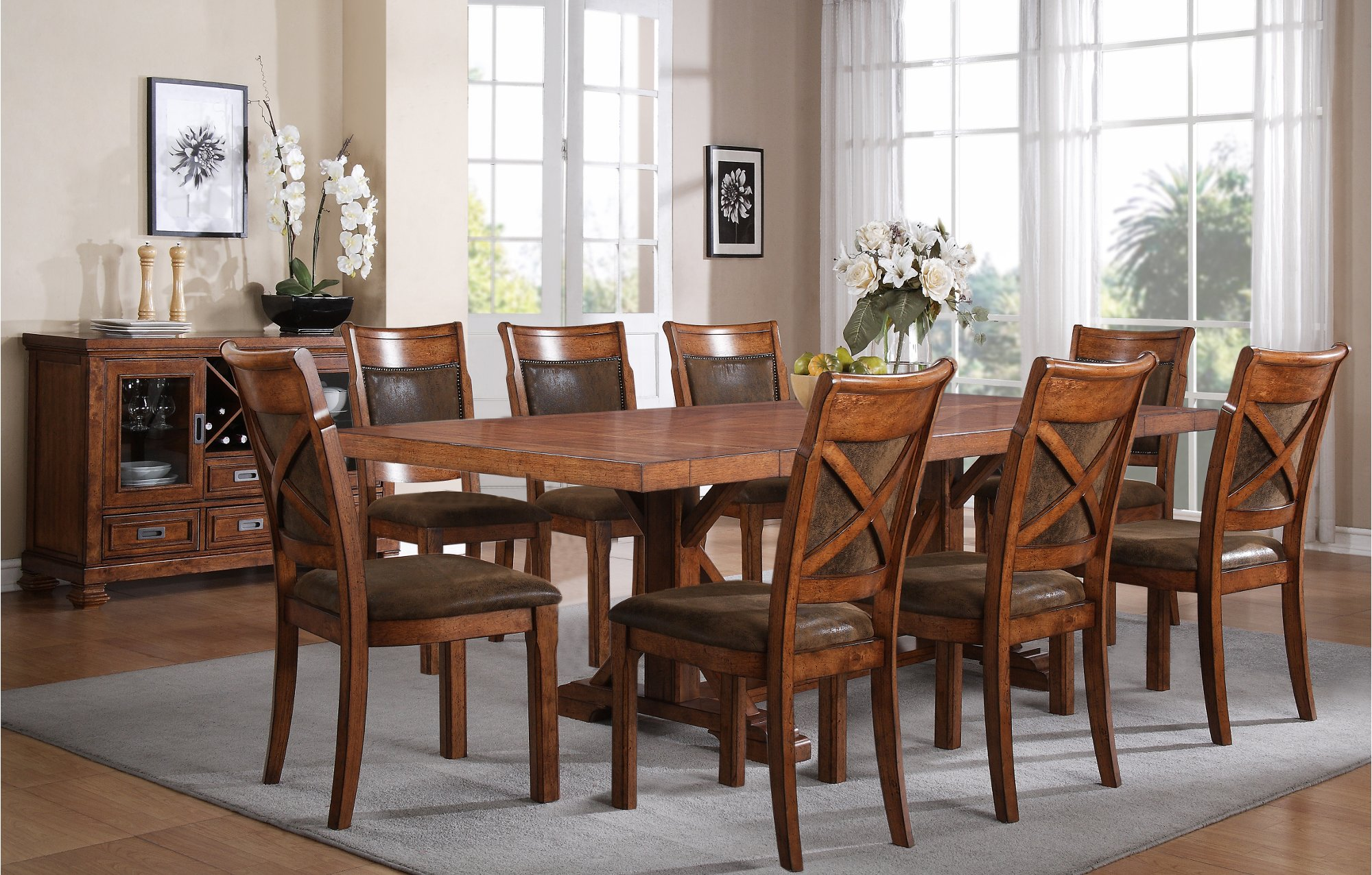 5 piece dining set caramel rc willey furniture store for Table design using jsp