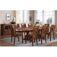 Farmhouse Brown Dining Table - Caramel