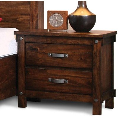 Jessie Rustic Brown 2-Drawer Nightstand
