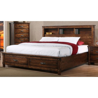 Rustic Brown King Size Storage Bed - Jessie