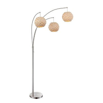 polished steel 3arm arc floor lamp with bamboo shades