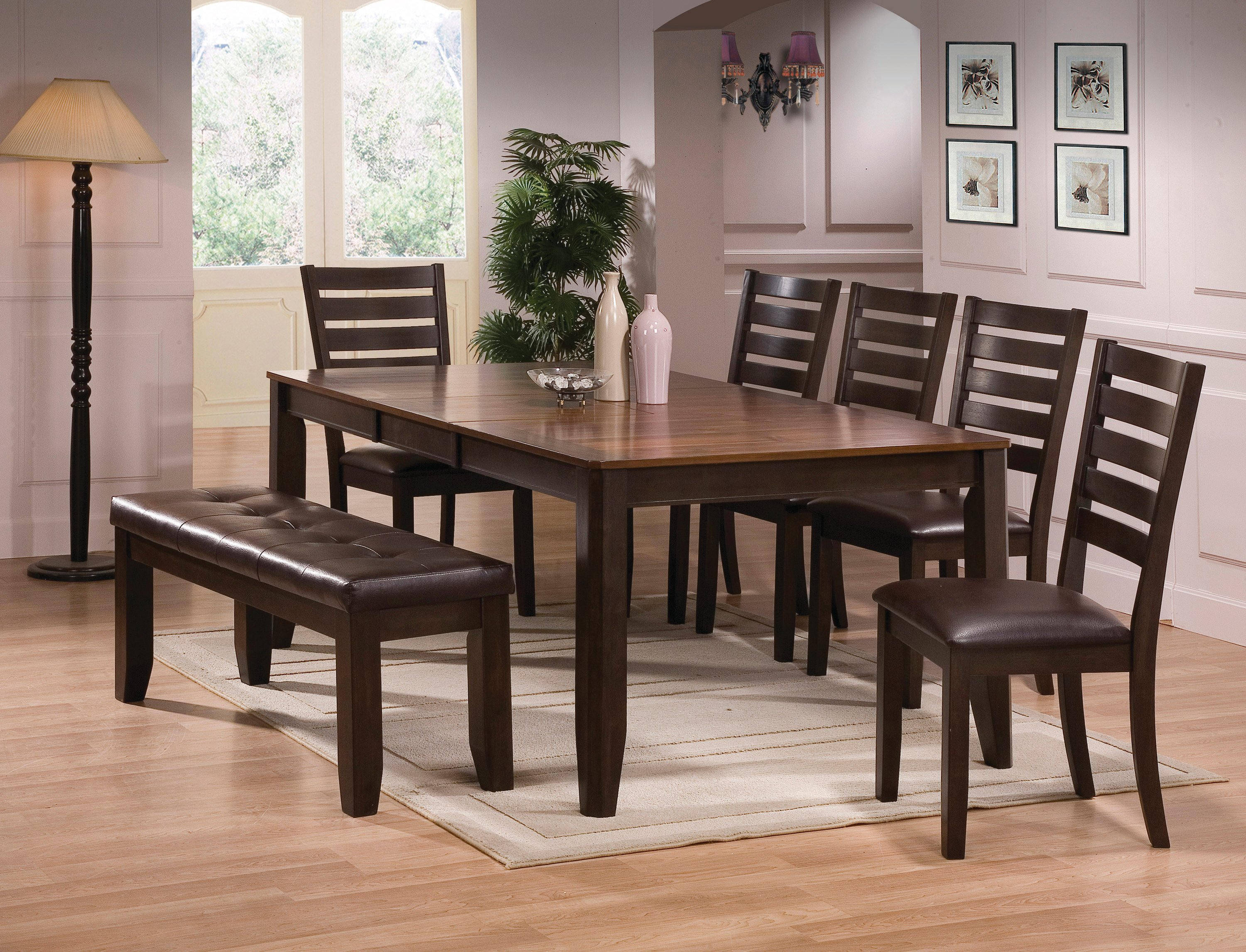 brown 6 piece dining set with bench elliott collection rc