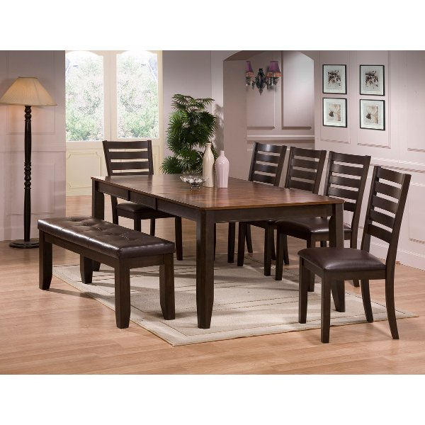 Clearance Brown 6 Piece Dining Set With Bench Elliott