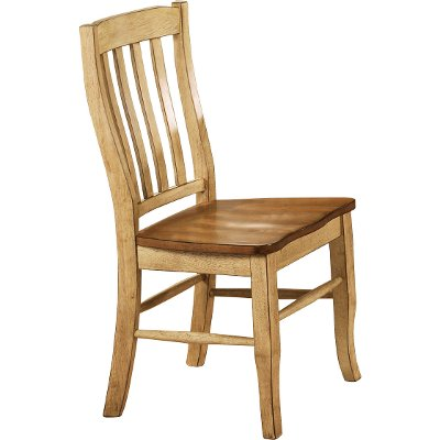 Almond and Wheat Rack Back Dining Room Chair - Quails Run Collection