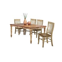 Almond and Wheat 5 Piece Dining Set with Rake Back Chairs - Quails Run