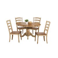 Almond and Wheat 5 Piece Dining Set with Ladder Back Chairs - Quails Run