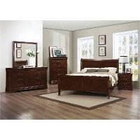 Brown Cherry 4 Piece California King Bedroom Set - Mayville