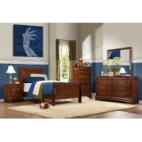 Traditional Brown Cherry 6 Piece Twin Bedroom Set - Mayville