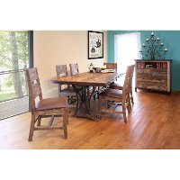 Pine 5 Piece Dining Set - Rustic Antique