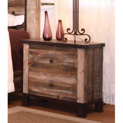 Rustic Contemporary Nightstand - Antique