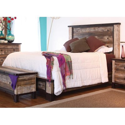 Rustic Antique Brown Queen Bed - Antique