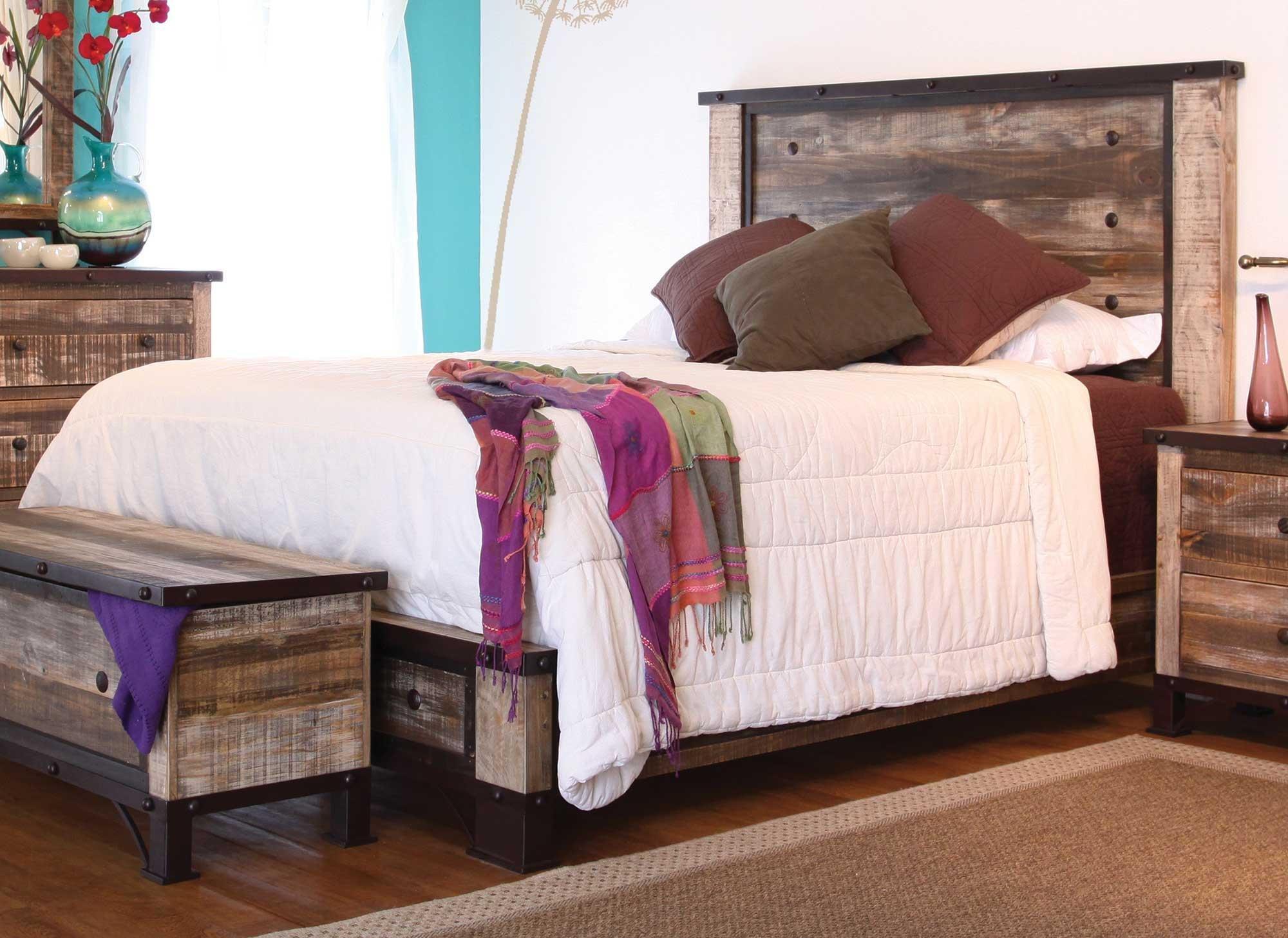 Rustic 6 Piece California King Bedroom Set Antique Rc