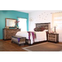 Rustic Contemporary 4 Piece Queen Bedroom Set - Antique