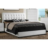 Contemporary White Queen Upholstered Bed - Avery