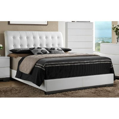 white tufted queen bed avery - White Queen Bed Frame