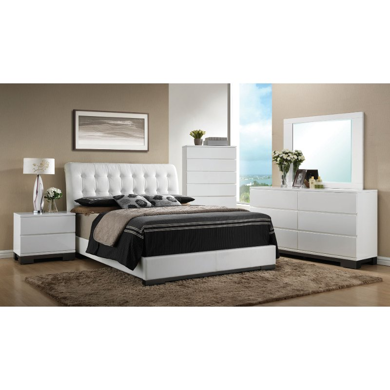 white contemporary 6 piece queen bedroom set avery rc willey furniture store - Bedroom Sets Queen