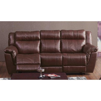 Brown Leather Match Manual Reclining Sofa   K Motion