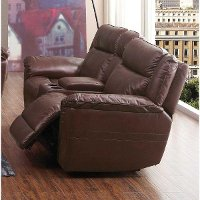 Brown Leather-Match Manual Reclining Loveseat With Console - K-Motion