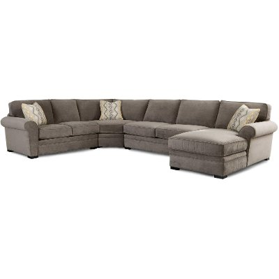 Gray Casual Contemporary 4 Piece Sectional